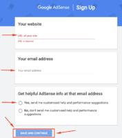 Google Adsense Sign Up page