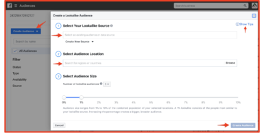 Creating Lookalike Audience in Facebook Ads Manager