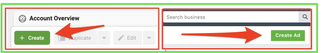 Create ad button Facebook