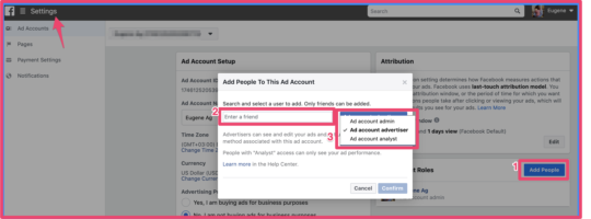 Facebook Ad manager ad people to Ad account