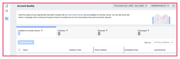 Facebook ads account quality