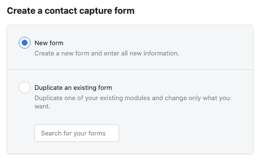 Create a contact capture form for lead generation ads facebook