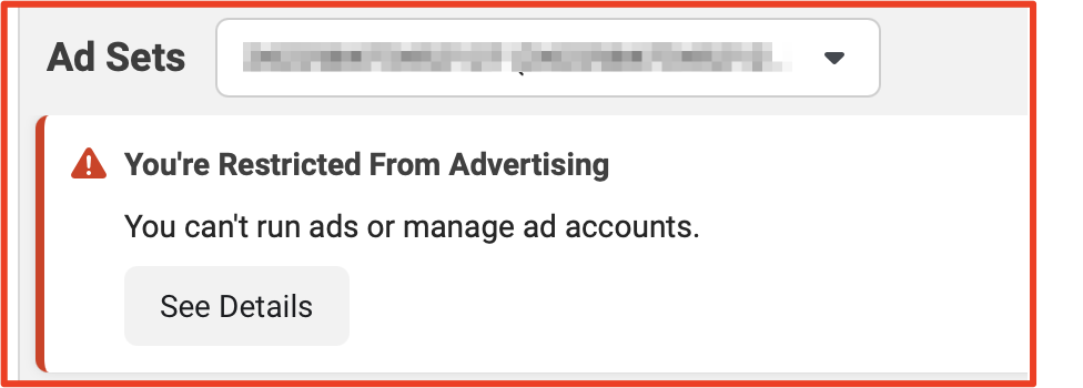 Facebook ad account restricted