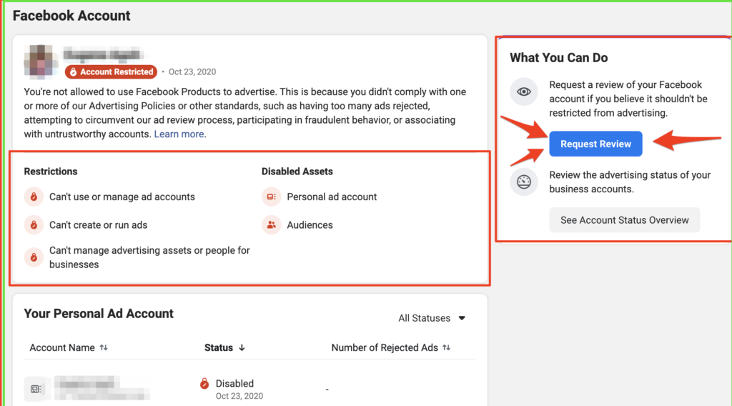 Disabled Facebook ad account request review