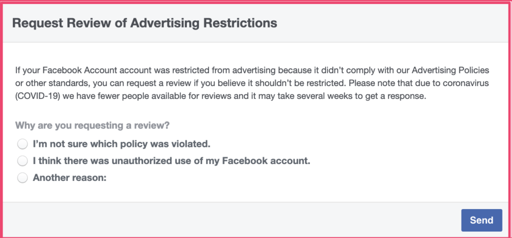 Facebook ad account request review of advertising restrictions