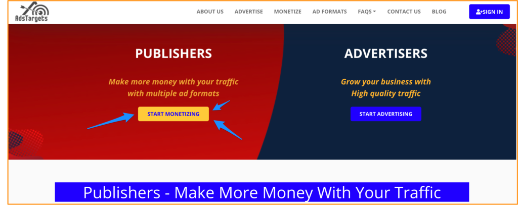 AdsTargets Ad Network for Indian publishers