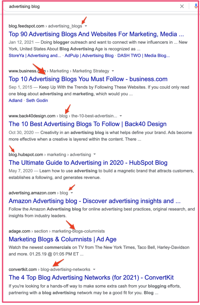 Advertising blogs search sample