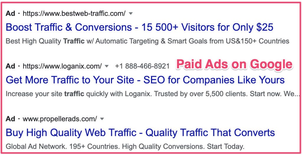 Paid search marketing example