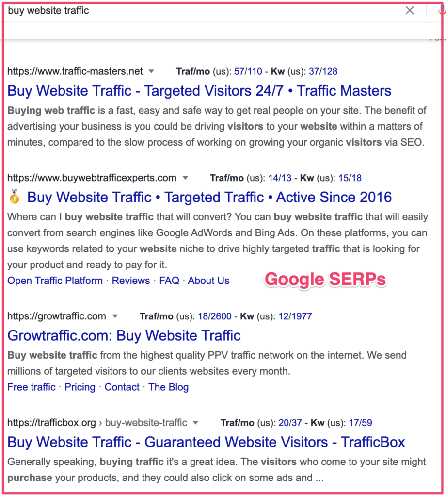 Google SERPs example