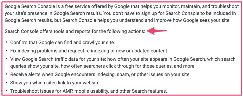 Google search console defined by Google