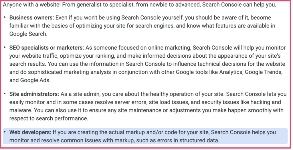 Who should use Search Console
