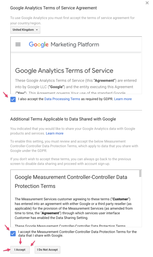 Agreement and user terms analytics