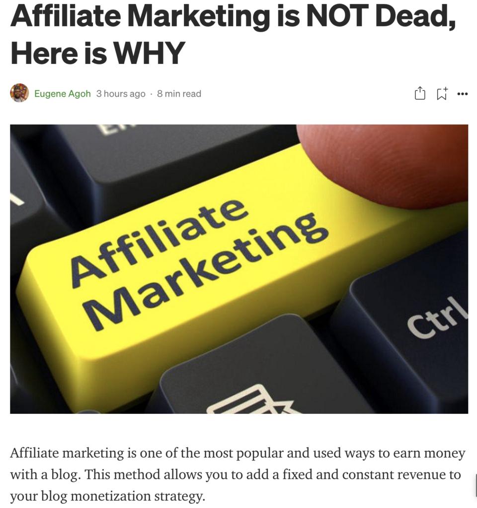 Blog Sharing post on Medium sample